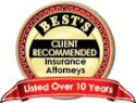 Best's Client Recommended Insurance Attorneys - Listed Over 10 Years